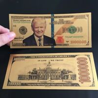 10X Donald Trump 24K Gold Plated 1 Million Dollars Bill Novelty Collection Gift