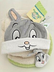 "New Warner Bros Baby Looney Tunes Bugs Bunny 40"" x 30 Plush Blanket & Beanie Set"