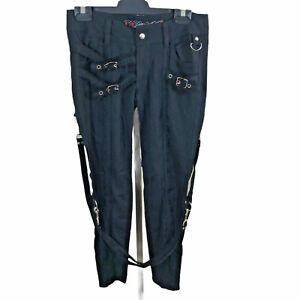 Lip Service Black Strappy Pants Size 27 Punk/Fetish/Goth/Cyber Unisex W29 L26