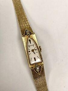 Vintage Diamond & 14K Yellow Gold Bulova Ladies Watch