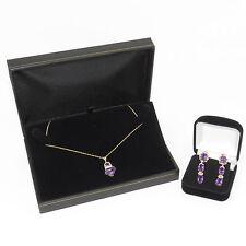 NYJEWEL Brand New 14K Yellow Gold Amethyst Diamond Pendant Necklace Earrings Set
