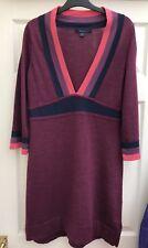 Boden Borgoña Azul Marino/Rosa Cuello en V vestido de tejidos de lana Aline Talla 12 como nuevo