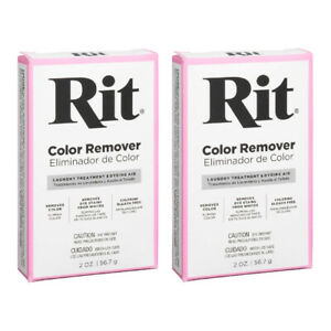 Rit Color Remover Powder Fabric Dye Laundry Treatment Dyeing Aid 2 Ounce, 2 Pack