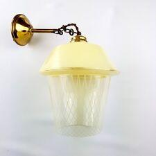 Lustre laiton doré et verre peint façon résille années 50