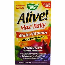 Nature's Way, Alive! Max6 Daily Multi-Vitamin, No Iron Added, 90 Vcaps