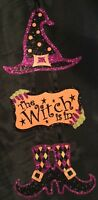 Adorable Halloween Hanging Glitter Decoration Witch Is In Sign Hat Boots Purple