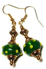 Long Gold Green & Yellow Earrings Glass Beads Drop Dangle Classy Pierced Hook