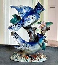 Blue Jay Ceramic Figurine Bird Painted Vtg Statue Figurine 1960s Ucagco Japan