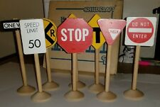 """🛑Childcraft® Wooden Blocks 7"""" Kids Play Traffic Driving Signs🛑 040#35dr"""