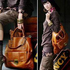 Vintage Kvoll Soft Faux Brown PU Leather Handbag Korean Boho Multi Straps 3 way