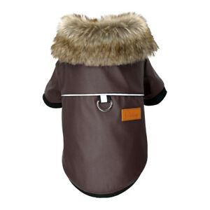 Leather Dog Coats Waterproof Dog Winter Jacket with Fur Collar for Small Dogs