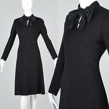 L Vintage 1960s 60s Adele Simpson Black Wool Knit Shift Dress Keyhole MOD Gogo