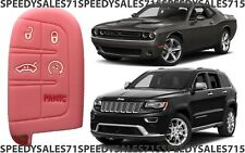 Pink Rubber Smart Key Fob Remote Case Cover For Jeep Dodge Chrysler New USA