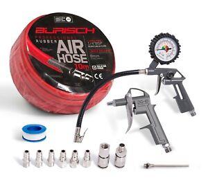 Air line / hose Tyre Pressure Gauge Inflator, Duster Gun & 8 Air Fittings