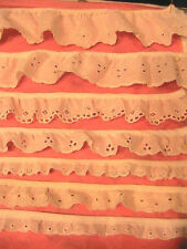 "Variety of 7 EYELET LACES~trims~embellishments LOT ""W"" 12 plus YARDS"