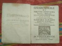 1711 Quaresimale di Fulvio Fontana Sacerdote Missionario Compagnia di Gesù
