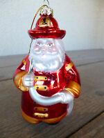 "Fireman Santa Clause Ornament CHIEF Helmet  Mercury Glass  OWC  5"""