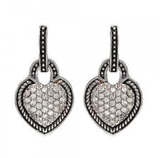 Montana Silversmiths Beaded Pave Crystal Heart Small Dangle Earrings