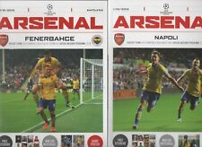 ARSENAL PROGRAMMES UEFA PLAY OFF V FENERBAHCE & GROUP MATCH V NAPOLI 2013
