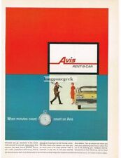 1959 AVIS RENT-A-CAR When Minutes Count stopwatch w/ Ford Galaxie VTG PRINT AD