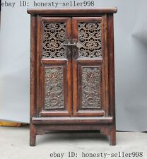 "24""Rare Old Chinese Huanghuali wood Hand-carved dragon cupboard Bedside cabinet"