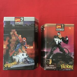 Marvel Comics Venom , Spiderman Level 1 & 2 Toy Biz 1996 Model Kits lot NIB