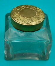 VICTORIAN GLASS INKWELL WITH BRASS TOP