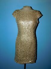 Adrianna Papell Gold Sequin Cap Sleeve Mini Dress-6