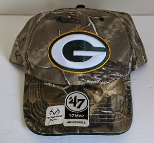 Green Bay Packers '47 MVP Brand Camo Realtree Xtra Frost Adjustable Hat NWOT