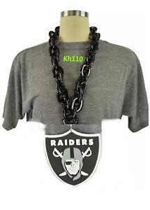 Oakland Raiders NFL 3D Fan Chain Necklace Foam Magnet -BLK Chain