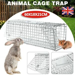 Large Animal Cage Trap Foldable Live Catch Cage for Rabbits Squirrels Mink Rat