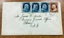 {BJ STAMPS}  Scott #24 Type 5a strip of 3 on cover  Hempstead NY to Albany