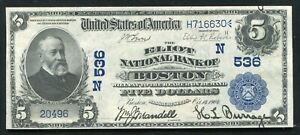 1902 $5 DB THE ELIOT NB OF BOSTON, MA NATIONAL CURRENCY CH. #536 ABOUT UNC