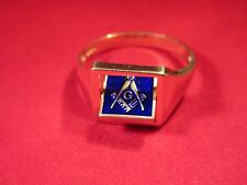Square 18ct on Sterling Silver Reversible Masonic Ring Blue Enameled SIZE Z+1