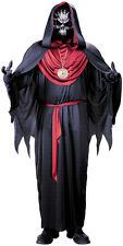 MENS SKELETON ZOMBIE COSTUME DLUX SCARY FANCY DRESS HALLOWEEN DEATHEATER OUTFIT