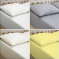 100% Jersey Combed Cotton Deep Fitted Sheet Bed Sheets Cover Single Double King