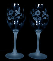 AVON HUMMINGBIRD ETCHED LEAD CRYSTAL STEMWARE FROSTED STEM ~ SET of 2 ~ EUC
