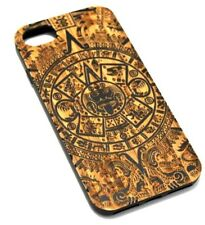 for iPhone 6 7 8 MAYAN TRIBAL DESIGN REAL WOOD BLACK RUBBER PROTECTOR CASE COVER