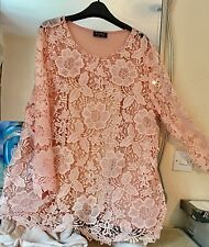 BNWOT CLUB L PALE PINK SHEER LACE TOP & CAMISOLE SIZE 22/24