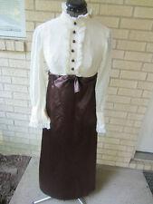 vintage formal prom high neck school marm prairie brown satin/blouse look XS
