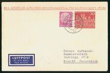 Mayfairstamps Germany 1958 AUA Flight Stuttgart to Wien Card wwr14453