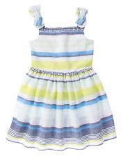 Gymboree Girls Blue Safari Striped Linen Smocked Bow A-line Sun Dress Size 6 7 8