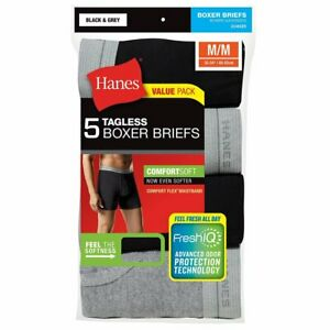 Hanes Men's Tagless Boxer Briefs With Comfort Flex Waistband 5 Pack Black/Grey