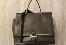Karen Millen Structured Leather Large Shoulder Tote Office Document Grey Bag