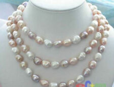 """Charming  Long 45 """"8-9mm Baroque Multicolor Freshwater Pearl Necklace AAA"""