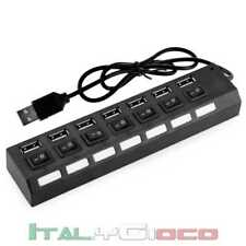Hub 7 Porte USB2.0 Sdoppiatore LED ON/OFF Interruttore Multiporta Nero