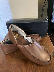 LB Evans Chicopee Mens Brown Leather Slippers House Shoe Vintage