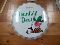 """Large Vintage Style Soda Bottle Cap 22"""" Mountian Dew from Orginial Mold  #3"""