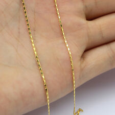 17.7inches  Pure Solid 18K Yellow Gold Necklace/Craved Men&Women Chain Necklace
