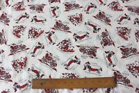 "Vintage American Christmas Cotton Fabric c1950~Santas & Dogs~31""L X 38""W"